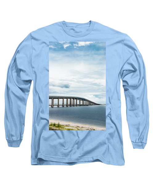 Long Sleeve T-Shirt featuring the photograph Navarre Bridge In Florida On The Sound Side by Shelby Young