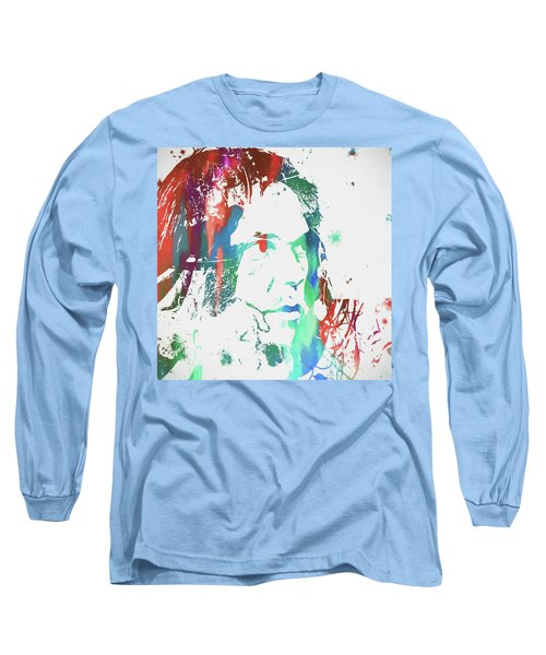 Neil Young Paint Splatter Long Sleeve T-Shirt by Dan Sproul