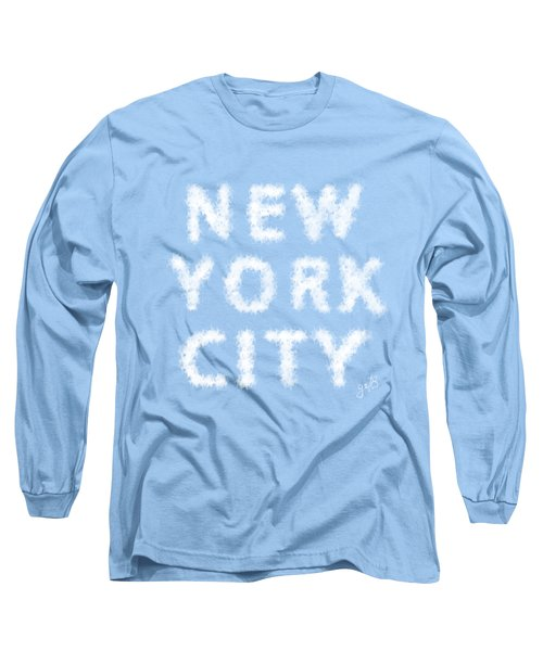 New York City Skywriting Typography Long Sleeve T-Shirt by Georgeta Blanaru