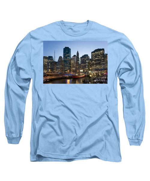 Long Sleeve T-Shirt featuring the photograph New York Manhattan Seaport by Juergen Held