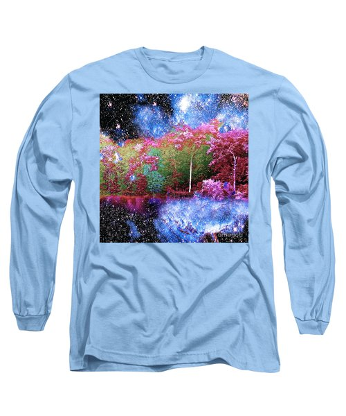 Night Trees Starry Lake Long Sleeve T-Shirt by Saundra Myles