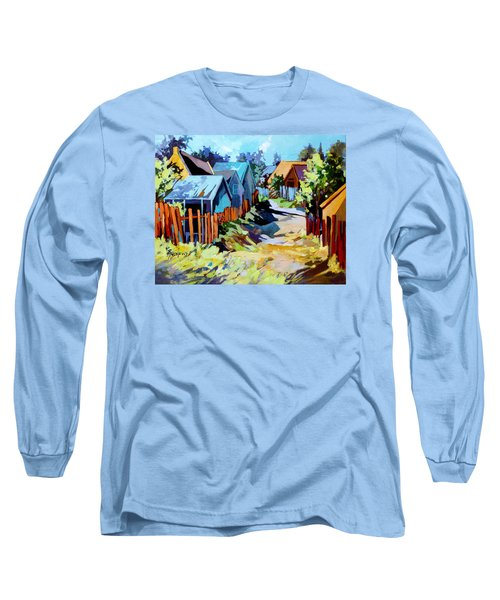 Long Sleeve T-Shirt featuring the painting No Through Road by Rae Andrews