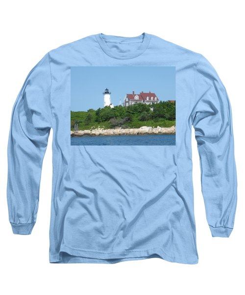 Nobska Point Lighthouse Long Sleeve T-Shirt by Donna Walsh