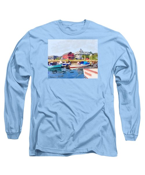 North Shore Art Association At Pirates Lane On Reed's Wharf From Beacon Marine Basin Long Sleeve T-Shirt by Melissa Abbott