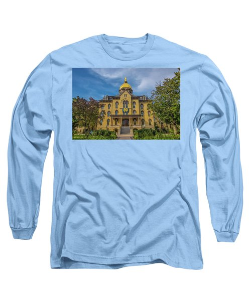 Long Sleeve T-Shirt featuring the photograph Notre Dame University Golden Dome by David Haskett