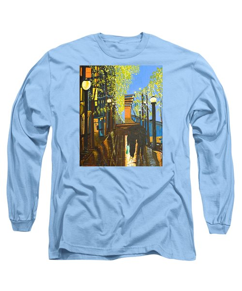 Long Sleeve T-Shirt featuring the painting Nuit De Pluie by Donna Blossom