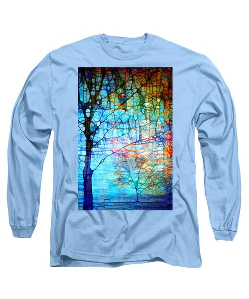 Obscured In Blue Long Sleeve T-Shirt