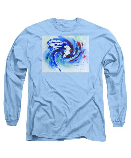 Ocean Wave Watercolor Long Sleeve T-Shirt