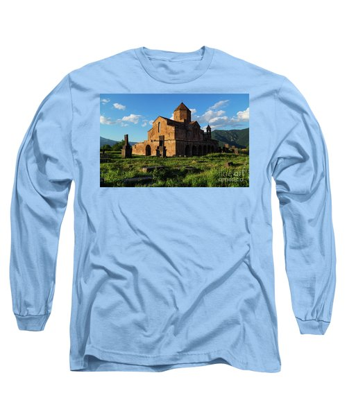 Odzun Church And Puffy Clouds At Evening, Armenia Long Sleeve T-Shirt by Gurgen Bakhshetsyan