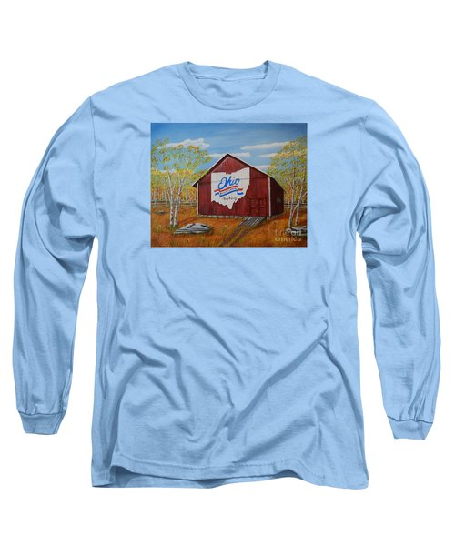 Long Sleeve T-Shirt featuring the painting Ohio Bicentennial Barns 22 by Melvin Turner