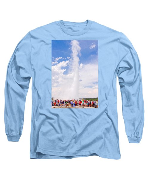 Long Sleeve T-Shirt featuring the photograph Old Faithful Surrounded by Susan Crossman Buscho