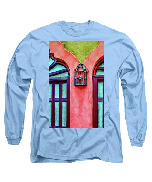 Long Sleeve T-Shirt featuring the photograph Old Lamp Between Windows by Gary Slawsky
