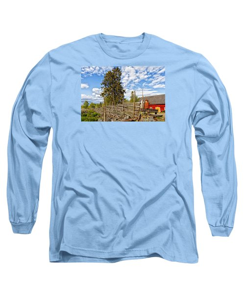Old Rural Farm Set In A Beautiful Summer Nature Long Sleeve T-Shirt by Christian Lagereek