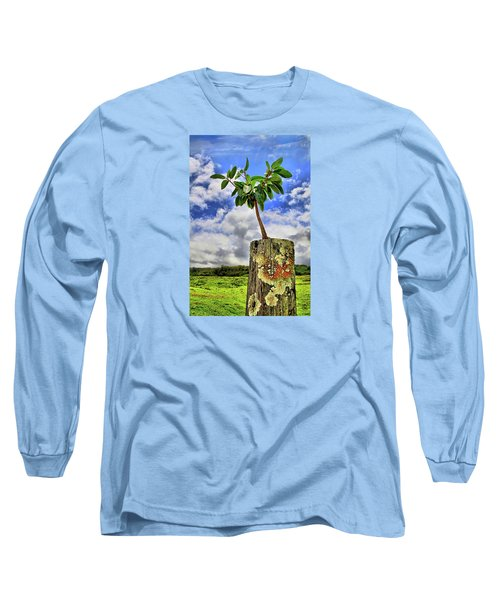 Long Sleeve T-Shirt featuring the photograph One Tree One Post by DJ Florek