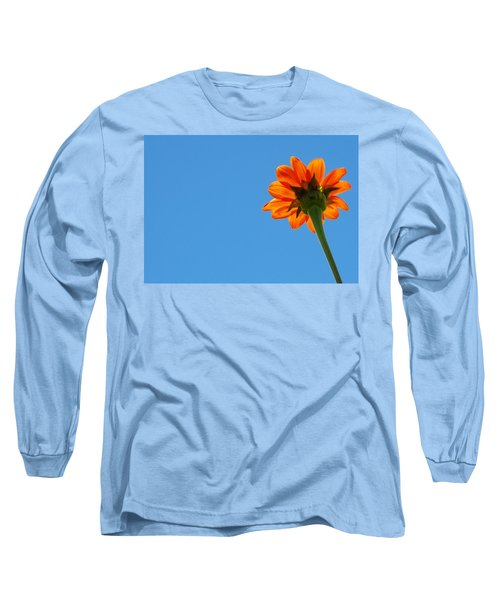 Orange Flower On Blue Sky Long Sleeve T-Shirt by Debbie Karnes