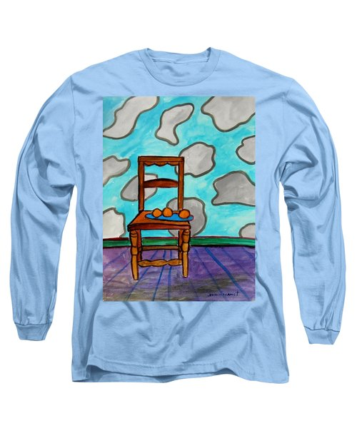 Oranges On A Blue Plate Long Sleeve T-Shirt by John Williams