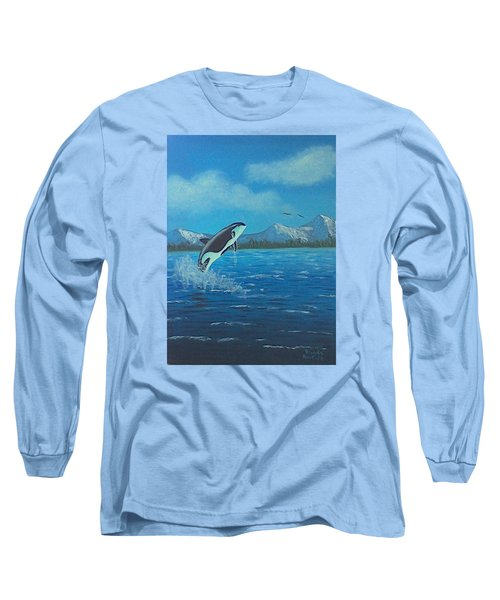 Orca Long Sleeve T-Shirt by Brenda Bonfield