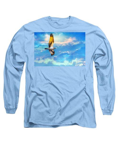 Osprey Soaring High Against A Beautiful Sky Long Sleeve T-Shirt