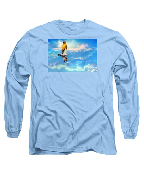 Osprey Soaring High Against A Beautiful Sky Long Sleeve T-Shirt