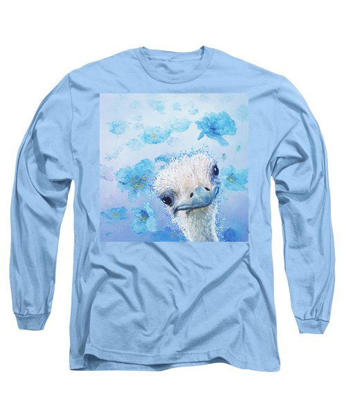 Ostrich In A Field Of Poppies Long Sleeve T-Shirt by Jan Matson