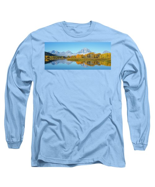 Oxbow Bend Pano In Autumn Long Sleeve T-Shirt