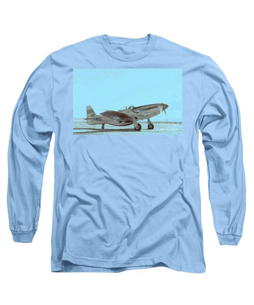 Long Sleeve T-Shirt featuring the photograph P51 Warmup by Greg Moores