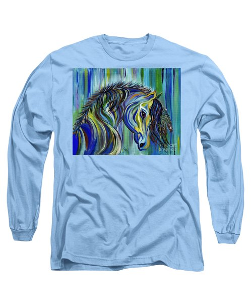 Long Sleeve T-Shirt featuring the painting Paint Native American Horse by Janice Rae Pariza