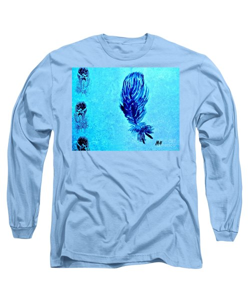 Painted Feather Long Sleeve T-Shirt by Marsha Heiken