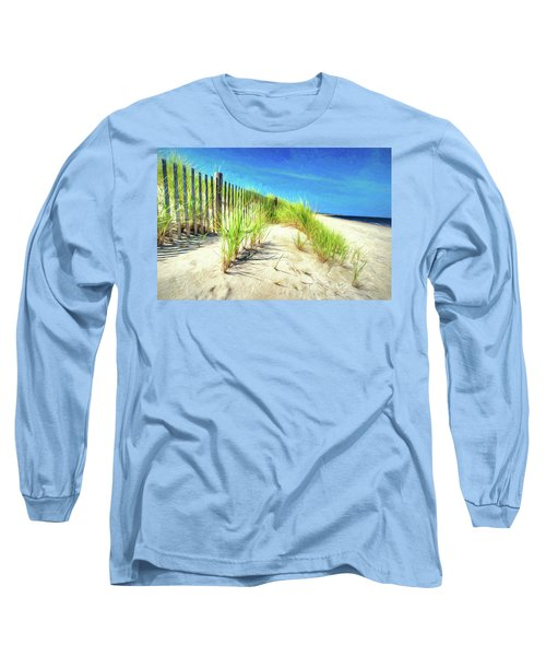 Long Sleeve T-Shirt featuring the photograph Painterly  Waterfront Dune Grass by Gary Slawsky