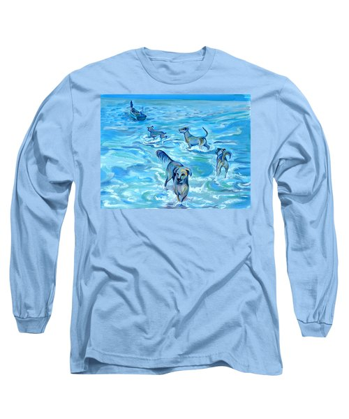 Long Sleeve T-Shirt featuring the painting Panama. Salted Dogs by Anna  Duyunova