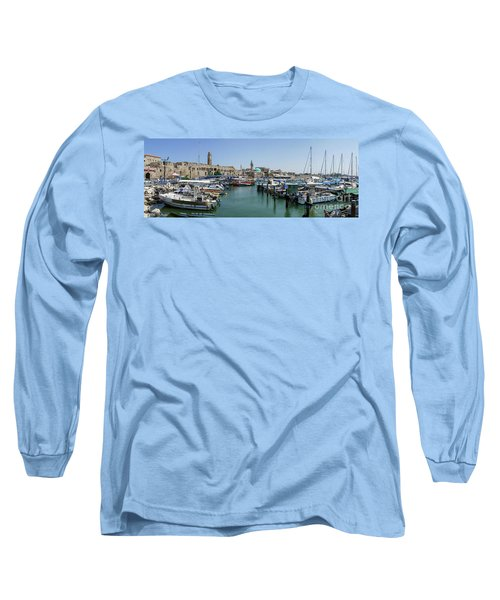Long Sleeve T-Shirt featuring the photograph Panorama In Acre Harbor by Arik Baltinester
