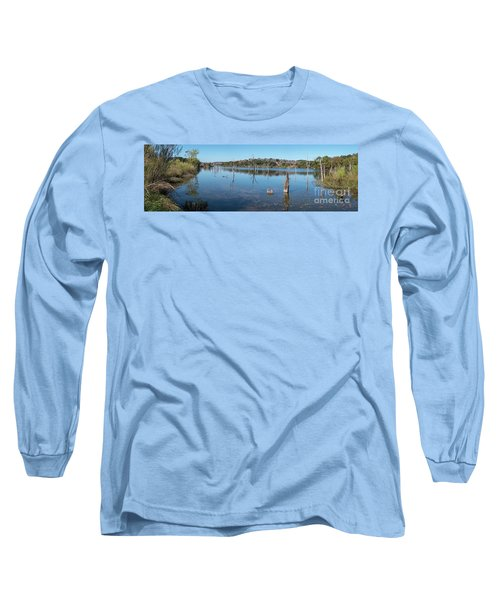 Panoramic View Of Large Lake With Grass On The Shore Long Sleeve T-Shirt