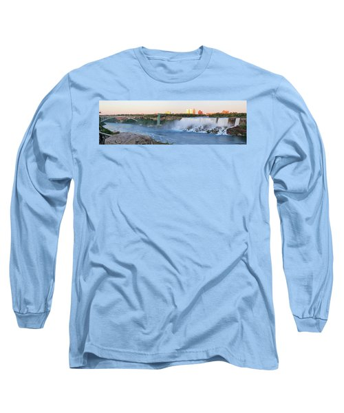 Panoramic Views Of The Peacebridge, Niagara River And American Falls Long Sleeve T-Shirt