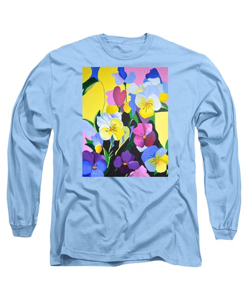 Long Sleeve T-Shirt featuring the painting Pansies by Donna Blossom