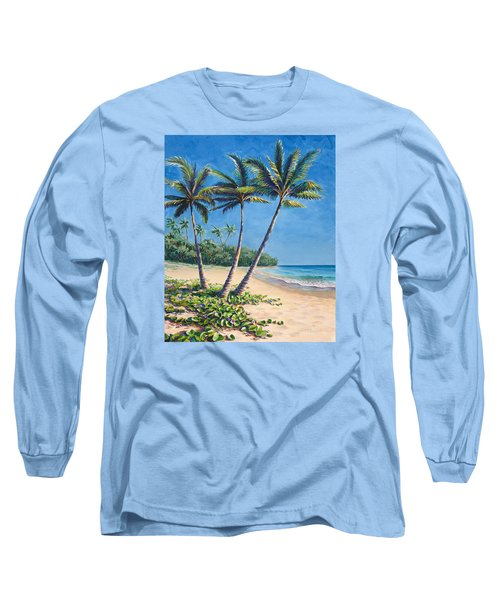 Long Sleeve T-Shirt featuring the painting Tropical Paradise Landscape - Hawaii Beach And Palms Painting by Karen Whitworth