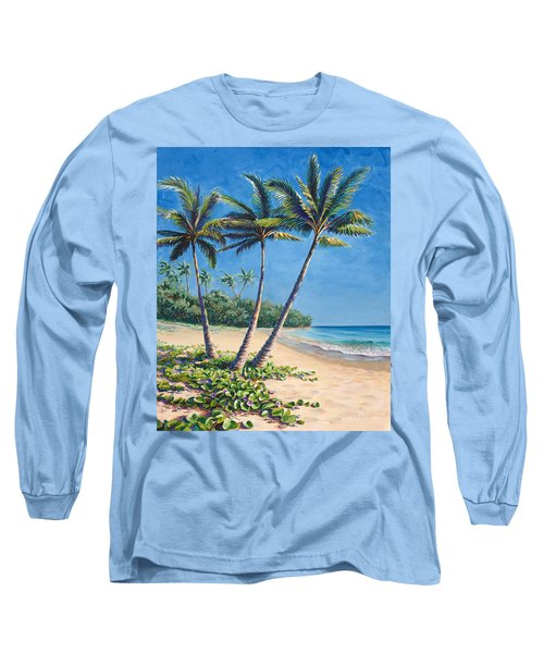 Tropical Paradise Landscape - Hawaii Beach And Palms Painting Long Sleeve T-Shirt