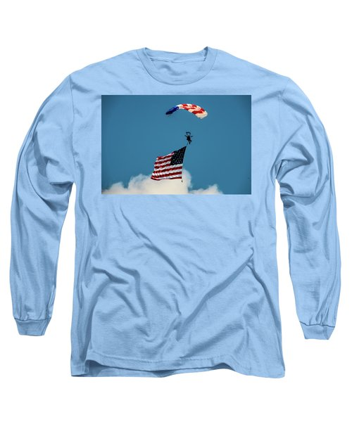 Paratrooper With Flag V3 Long Sleeve T-Shirt