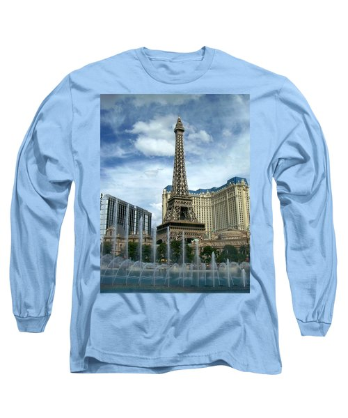 Paris Hotel And Bellagio Fountains Long Sleeve T-Shirt
