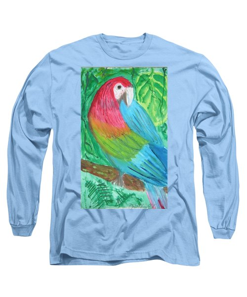 Long Sleeve T-Shirt featuring the painting Parrot At Sundy House by Donna Walsh
