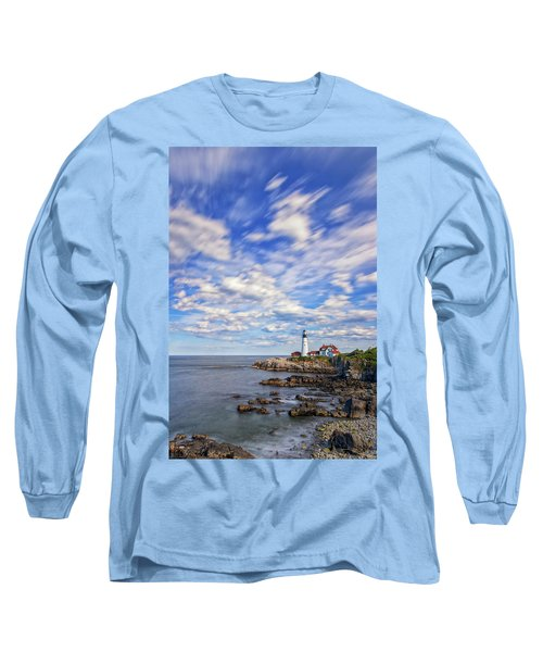 Passing Clouds At Portland Head Light Long Sleeve T-Shirt