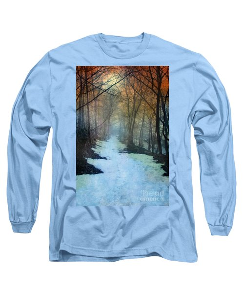 Path Through The Woods In Winter At Sunset Long Sleeve T-Shirt