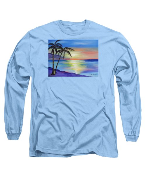Peaceful Sunset Long Sleeve T-Shirt by Luis F Rodriguez