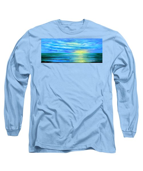 Peacefully Blue - Panoramic Sunset Long Sleeve T-Shirt