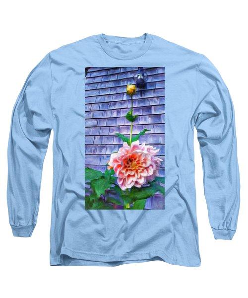 Peach Dahlia In Oil Long Sleeve T-Shirt