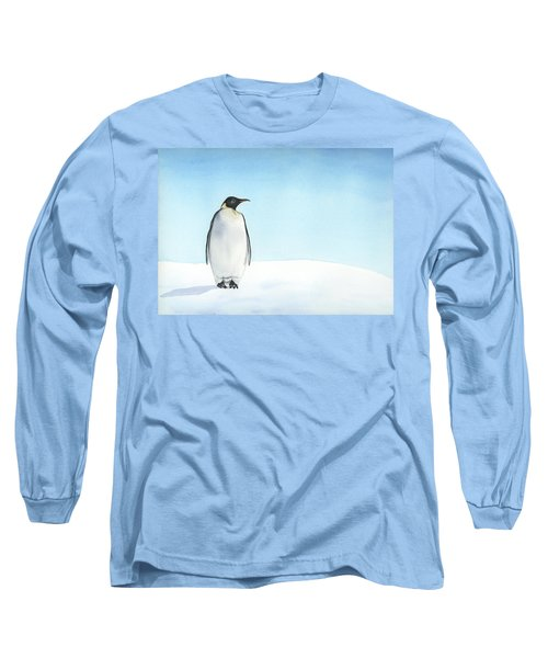 Long Sleeve T-Shirt featuring the painting Penguin Watercolor by Taylan Apukovska