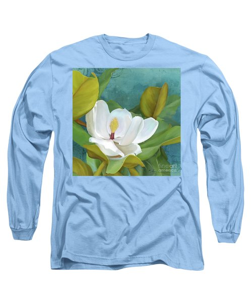 Long Sleeve T-Shirt featuring the painting Perfection - Magnolia Blossom Floral by Audrey Jeanne Roberts