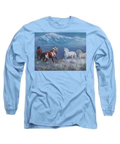 Phantom Of The Mountains Long Sleeve T-Shirt by Karen Chatham