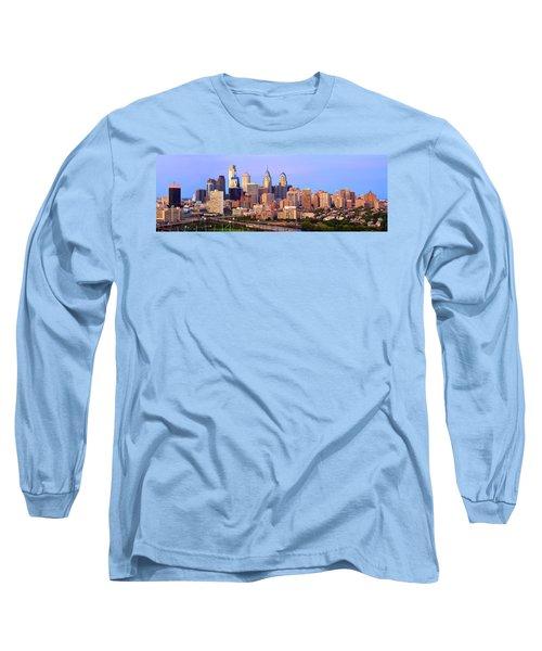 Philadelphia Skyline At Dusk Sunset Pano Long Sleeve T-Shirt by Jon Holiday