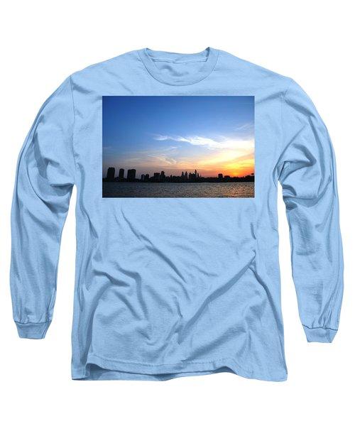 Philadelphia Skyline Low Horizon Sunset Long Sleeve T-Shirt by Matt Harang