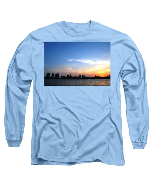 Philadelphia Skyline Low Horizon Sunset Long Sleeve T-Shirt